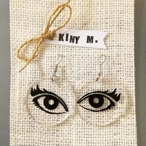 Handmade Lucit Earrings Clear Acrylic Eyes Dangle